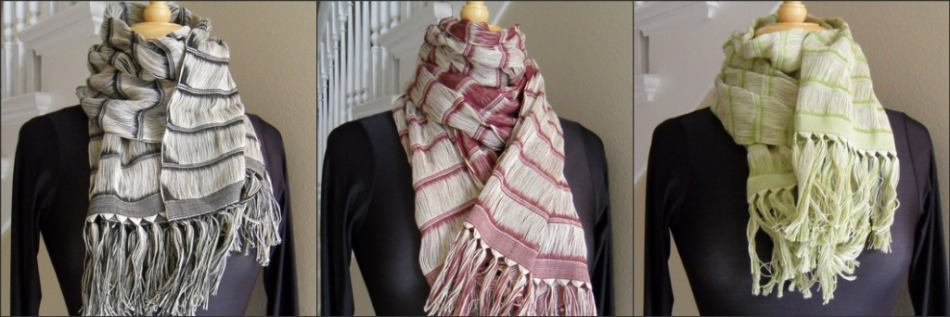 Fair Trade, hand-woven cotton scarves from Mexico.